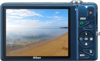 Компактный фотоаппарат Nikon S5200 Blue - вид сзади