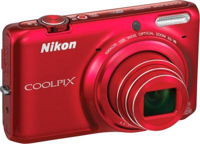 Компактный фотоаппарат Nikon S6500 Red - общий вид
