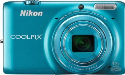 Компактный фотоаппарат Nikon S6500 Blue - вид спереди