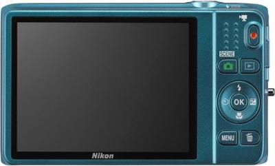 Компактный фотоаппарат Nikon S6500 Blue - вид сзади