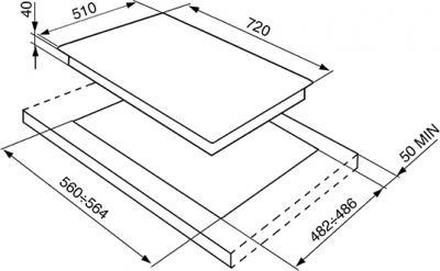 Газовая варочная панель Smeg PV175S - схема встраивания