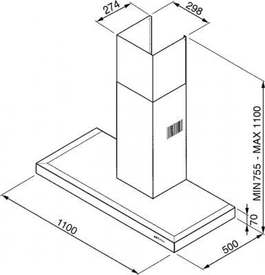 Вытяжка Т-образная Smeg KSE110X - схема