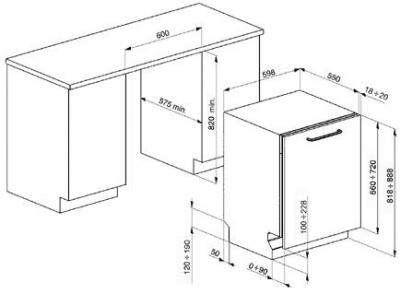 Посудомоечная машина Smeg ST331L - габаритные размеры