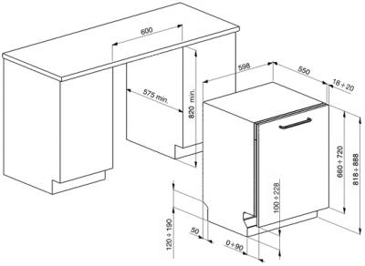 Посудомоечная машина Smeg ST733TL - габаритные размеры