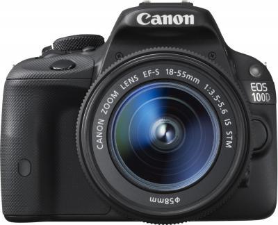 Зеркальный фотоаппарат Canon EOS 100D Kit 18-55 IS STM (черный) - вид спереди