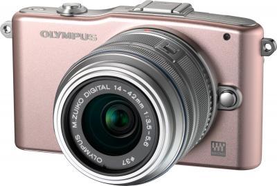 Беззеркальный фотоаппарат Olympus E-PM1 Kit 14-42mm Rose - общий вид