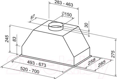 Вытяжка скрытая Best P560 (52, нержавеющая сталь)