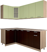 Готовая кухня Интерлиния Мила 12x21 (салатовый/дуб венге) -