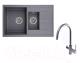 Мойка кухонная Granula GR-7802 + смеситель Spring 35-09/L (графит) -