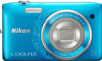 Компактный фотоаппарат Nikon Coolpix S3500 Blue - вид спереди