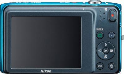 Компактный фотоаппарат Nikon Coolpix S3500 Blue - вид сзади
