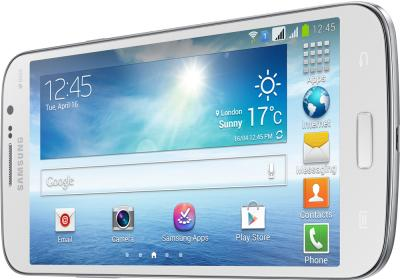 Смартфон Samsung Galaxy Mega 5.8 Duos / I9152 (белый) - вид лежа вполоборота