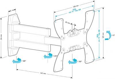Кронштейн для телевизора Holder LCDS-5066 (черный глянец) - схема