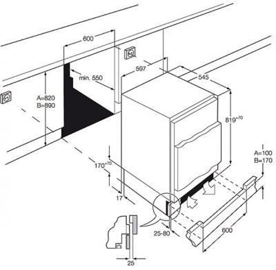 Встраиваемый холодильник AEG SKS58240F0 - габаритные размеры