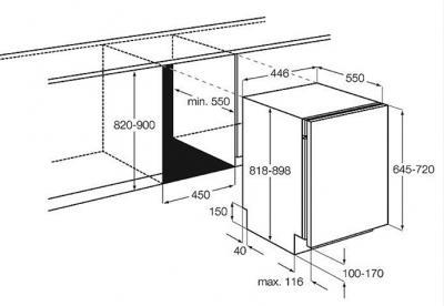 Посудомоечная машина AEG F55400VI0P - габаритные размеры