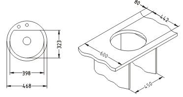 Мойка кухонная Alveus Cubo 10 (Terra) - габаритные размеры