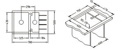Мойка кухонная Alveus Cubo 40 (Beige) - габаритные размеры