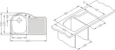 Мойка кухонная Alveus Futur 30 (Carbon) - габаритные размеры