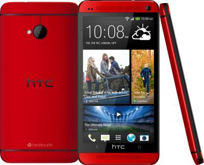 Смартфон HTC One (Red) - сзади,спереди и сбоку