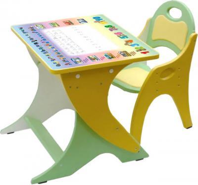 Стол+стул Интехпроект Буквы-цифры 14-327 (салатовый и желтый) - общий вид