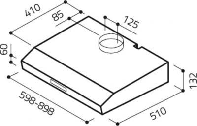 Вытяжка плоская Elica KREA ST WH F/60 - схема