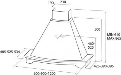 Вытяжка купольная Elica CORALLO ST WH F/60 CILIEGIO - схема