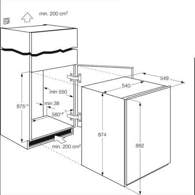 Морозильник Electrolux EUN1101AOW - габаритные размеры