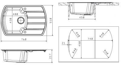 Мойка кухонная Florentina Нире-760 Jasmine - габаритные размеры