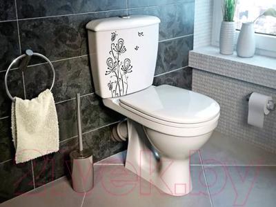 Унитаз напольный Оскольская керамика Суперкомпакт + декор Цветы (с гофрой)