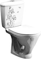 Унитаз напольный Оскольская керамика Радуга + декор Цветы (с гофрой) -