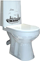 Унитаз напольный Оскольская керамика Фиона Люкс + декор Лондон (белый, с гофрой) -