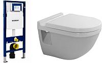 Унитаз подвесной с инсталляцией Duravit Set Starck 3 (42000900A1+111300005) -