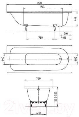 Ванна стальная Kaldewei Classic Duo 105 170x70
