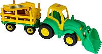 Детская игрушка Полесье Трактор Чемпион с ковшом + прицеп-лесовоз 0483 -