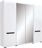 Шкаф Black Red White Azteca S205-SZF2D2L/21/22 (белый/белый блеск) -