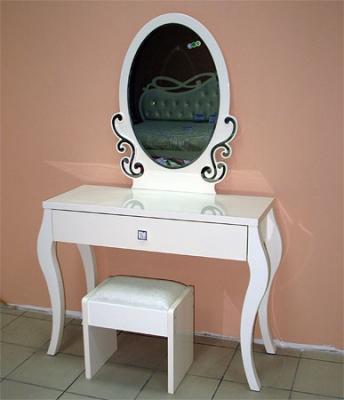 Туалетный столик с зеркалом Королевство сна Prestigio-002 (перламутровый с серебром) - общий вид