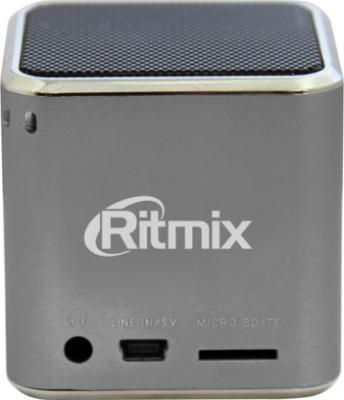 Портативная колонка Ritmix SP-210 (серебристый) - общий вид