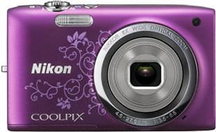 Компактный фотоаппарат Nikon Coolpix S2700 Purple Patterned - вид спереди
