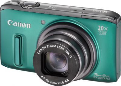 Компактный фотоаппарат Canon PowerShot SX260 HS Green - общий вид
