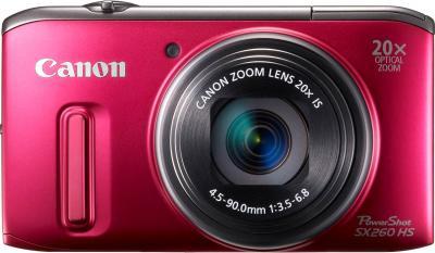 Компактный фотоаппарат Canon PowerShot SX260 HS Red - вид спереди