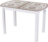 Обеденный стол Домотека Гамма ПО 04 (белый/СТ-71) -
