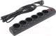 Сетевой фильтр Defender DFS-155 / 99496 (5м, 6 розеток, черный) -
