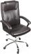 Кресло офисное Деловая обстановка Мадрид Хром (темно-коричневый) -