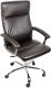 Кресло офисное Деловая обстановка Фаворит хром (темно-коричневый) -