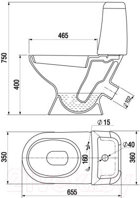 Унитаз напольный Керамин Стиль Алкапласт Premium (с полипропиленовым сиденьем)