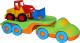 Набор игрушечных автомобилей Полесье Автомобиль-трейлер Дружок с погрузчиком / 48479 -