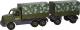 Детская игрушка Полесье Автомобиль бортовой тентовый военный с прицепом Сталкер / 49209 -