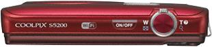 Компактный фотоаппарат Nikon Coolpix S5200 Red - вид сверху