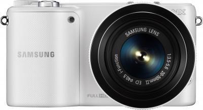 Беззеркальный фотоаппарат Samsung NX2000 (EV-NX2000BFWRU) White - вид спереди