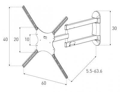 Кронштейн для телевизора Sonorous Surefix 460 - габаритные размеры